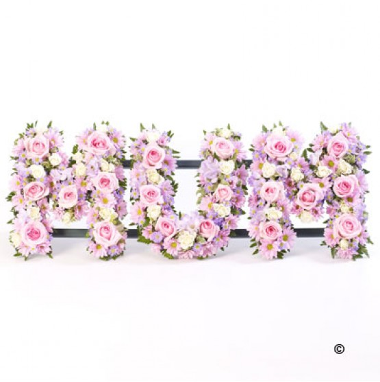 3 letter tribute open style mixed flowers