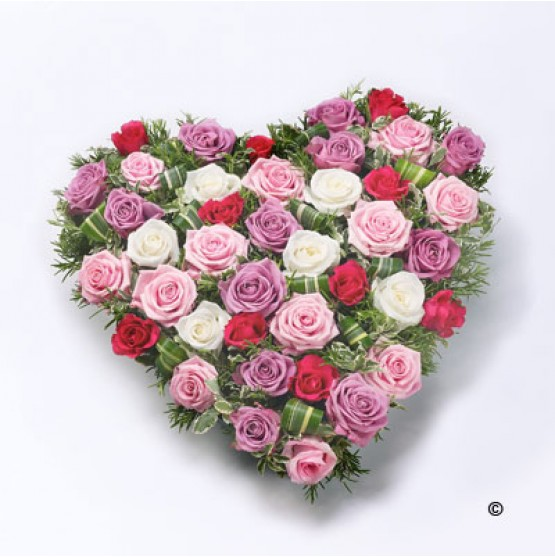 Mixed Rose Heart - Pink, Red and White