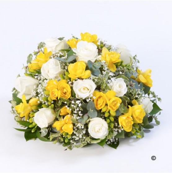 Rose and Freesia Posy - Yellow and White