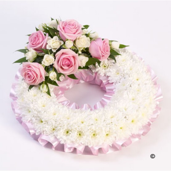 Traditional White &  Pink Wreath