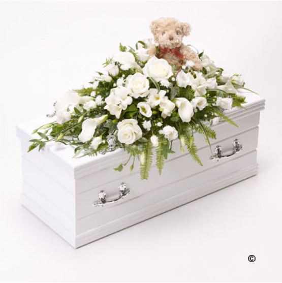 Casket Spray with Teddy Bear - White