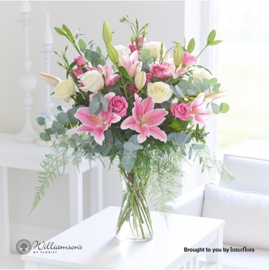 Pink Sophistication Rose Lily & Lisianthus Vase