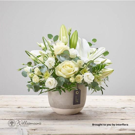 Cloud Nine flowers arranged in ceramic container.