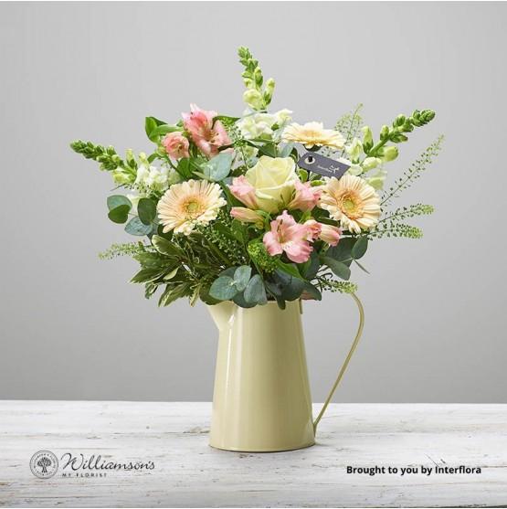 Always Ardour Cream Zinc Vase Of Flowers