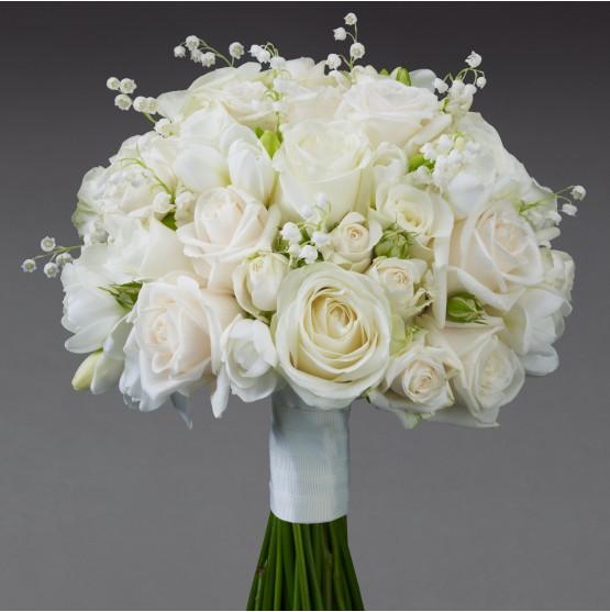 Cream Rose Freesia Bridal Bouquet