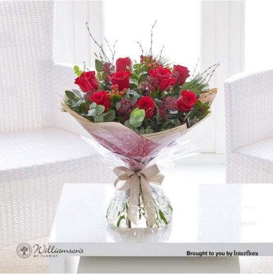 Christmas Red Rose Hand-tied
