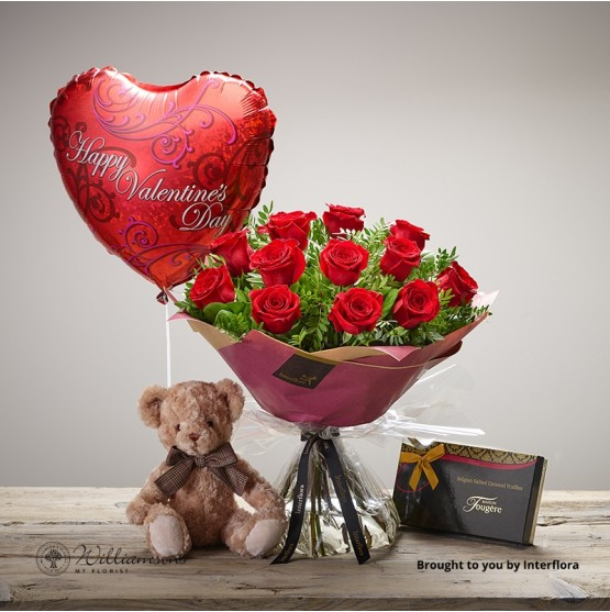 12 red roses a box of delicious Maison Fougere Salted Caramel Truffles, a James Bear and a Valentine's Day balloon.