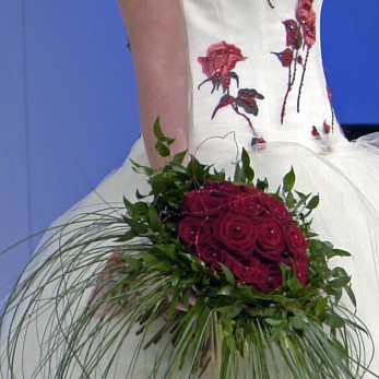 Red rose bridal hand tied