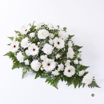 Carnation & Germini Teardrop Spray - White