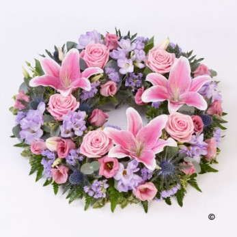 Rose and Lily Wreath - Pink and Lilac