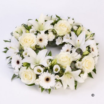 Rose & Lily White Wreath