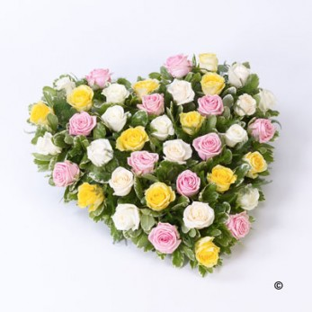 Mixed Rose Heart - Pink, Yellow and Cream