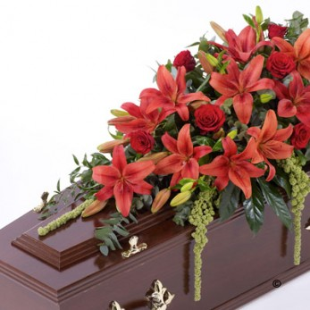 Red Lily & Rose Casket Spray