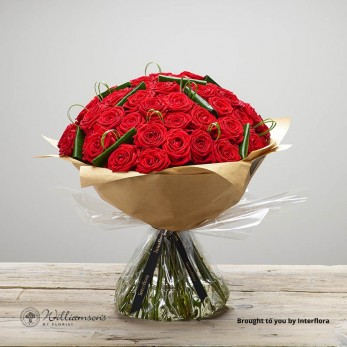 50 Red Roses Hand Tied