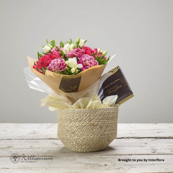 Rustic Raspberry Basket and Chocolates