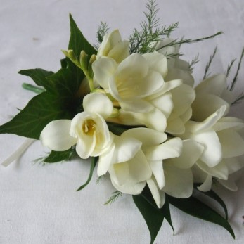 Ladies Large Freesia Fern And Ivy Corsage