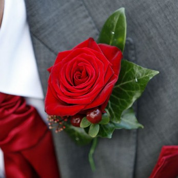 Gents Single Rose with Berries buttonhole