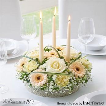 Pastel Rose & Germini Candle Centrepiece