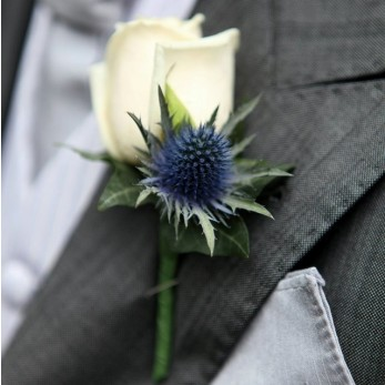 Simple Rose & Eringium Buttonhole