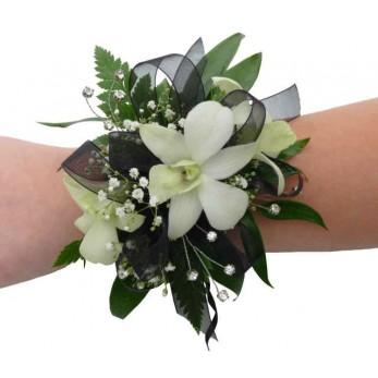 White Dendrobian & Gyp Wrist Corsage