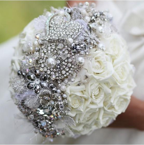 Silver Brooch Bridal Bouquet